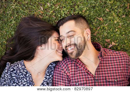 Romantic Young Couple In A Park