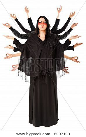 Woman Meditating With Multitude Of Hands