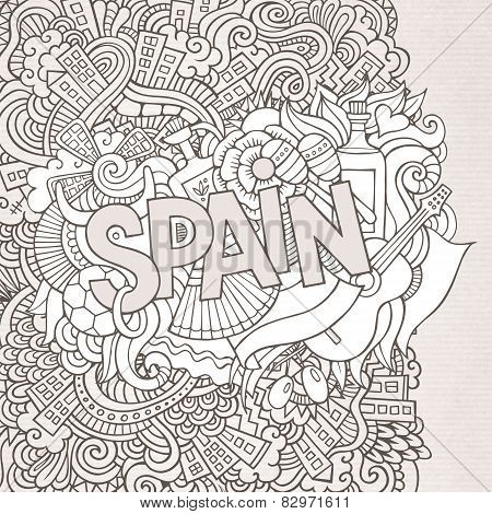 Spain hand lettering and doodles elements background