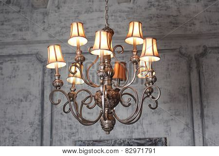 luxury chandelier in baroque interior