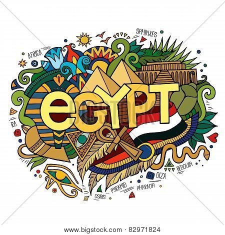 Egypt hand lettering and doodles elements background.