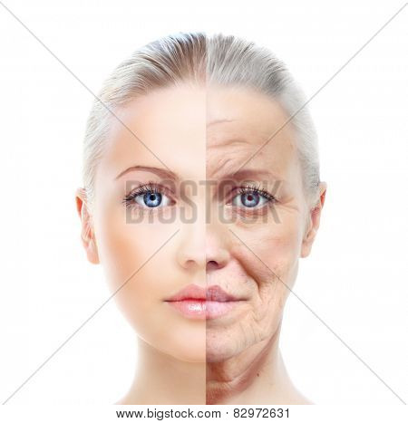 Old and young woman, isolated on white, before and after retouch, beauty treatment, aging concept.