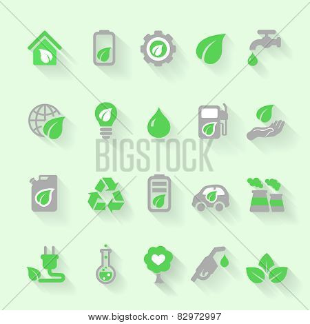 Ecology icons with environment, green energy and pollution in flat style