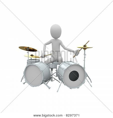 3D Man With Drums