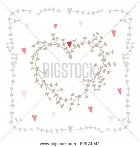Vector hand drawn set - heart shaped wreath, hearts and twigs