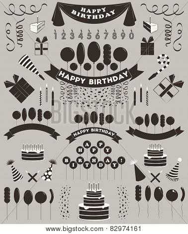 Set Of Birthday Elements And Objects.