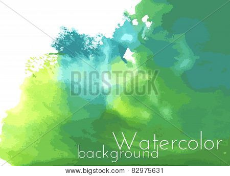 Green watercolor spot. Vector Background.