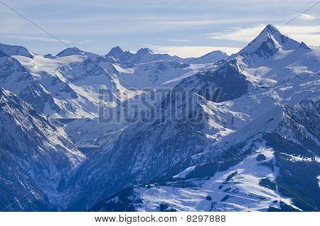Alps Mountain In Austria In Winter