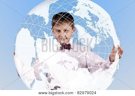 Boy Holding A Large Translucent Globe
