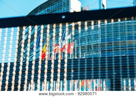 European Parlaiment And All Flags Of European Countries