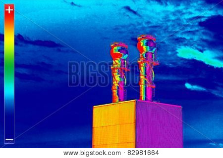 Thermovision Image Heating Plant Chimney