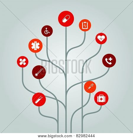 Abstract icon tree illustration - medicine and healthcare concept