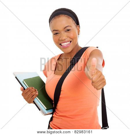 happy young african american college girl thumb up on white background