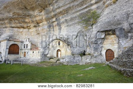 Ancient Chapel In A Cave. Ojos De Guarena. Burgos. Spain