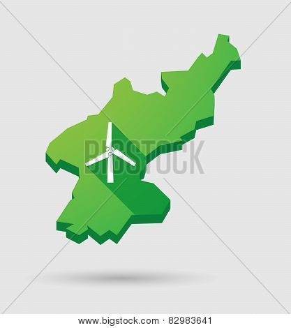 North Korea Map With A Wind Generator