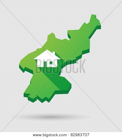 North Korea Map With A House