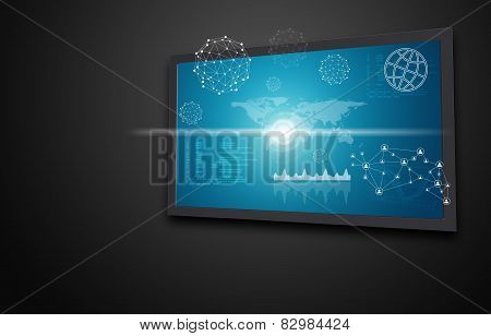 Touchscreen display with world map, graphs and other elements