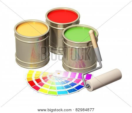 Roller and paints in metal banks. Isolated on white background