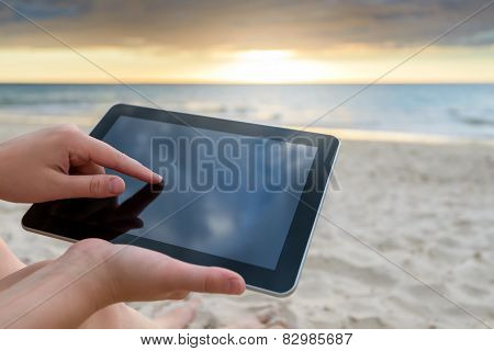Womam using a tablet