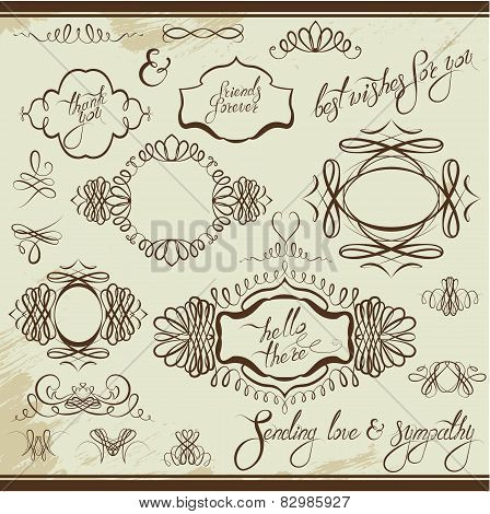 Vintage Ornaments And Frames, Vignettes, Calligraphic Design Elements For Cards And Invitation, Page