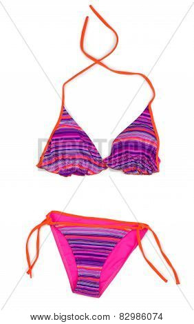 Red Striped Swimsuit. Isolate