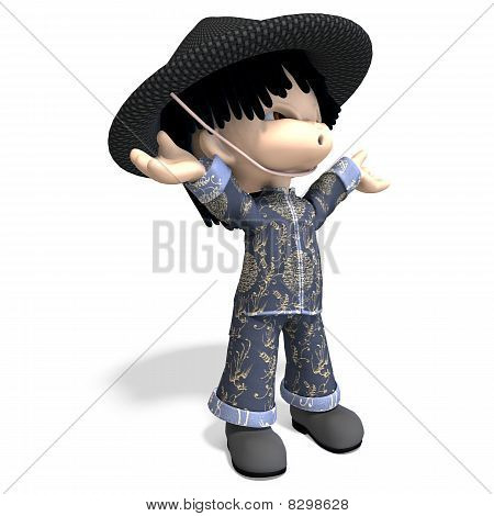 little cartoon china boy is so cute and funny
