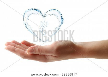 Water splashing shaped as heart frame in hand isolated on white