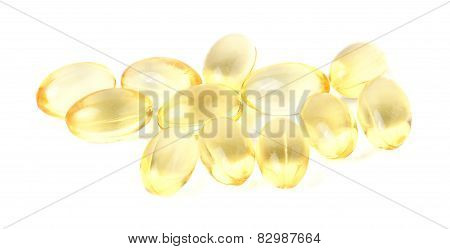 Lecithin Gel Vitamin Supplement Capsules Isolated On White Background