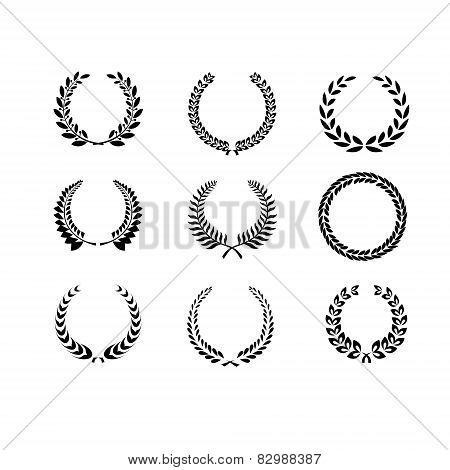 Set Of Black And White Silhouette Circular Laurel  Foliate And Wheat Wreaths Depicting An Award  Ach