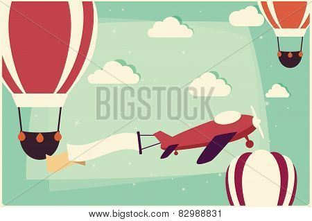 Background With Hot Air Balloons And Airplane With Ribbon