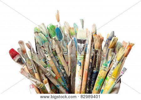 Many Used Paintbrushes