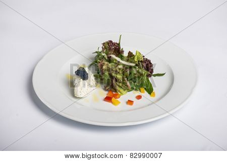 Fresh salad and ricotta with bue caviar