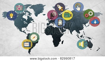 Global Media Social Media International Connection Concept
