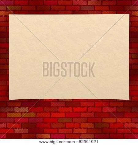 Paper sheet on brick wall