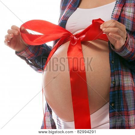 pregnant caucasian woman closeup body solated on white background studio shot