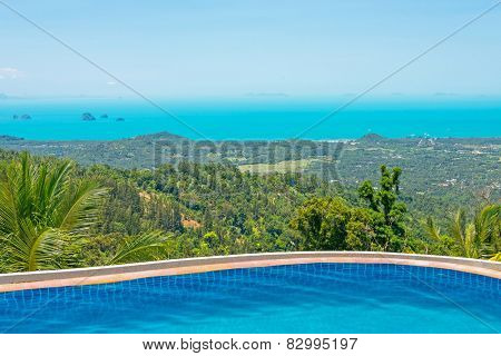 Paradise Farm Park swimming pool at Samui Thailand and panoramic view of island