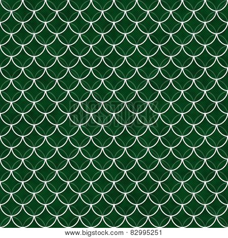 Green And White Shells With Interlocking Circles Tiles Pattern Repeat Background