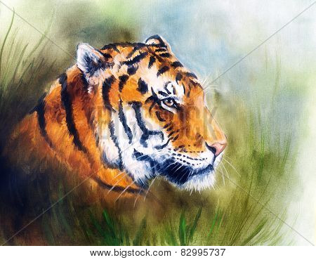 Painting Of A Bright Mighty Tiger Head On A Soft Toned Abstract Gres Background