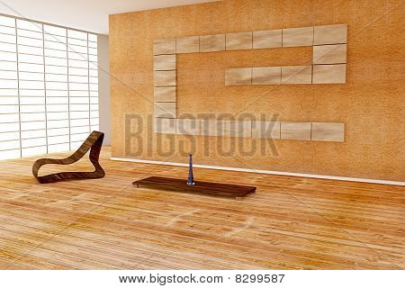 Modern Interior With Wooden Chair