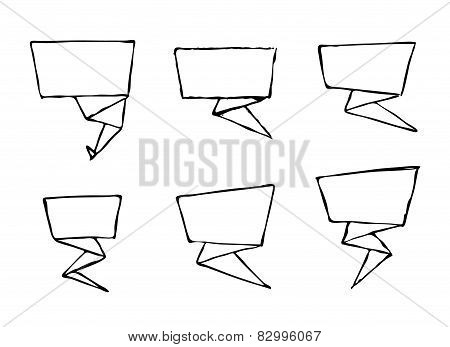 Set of hand-drawn origami vector banners