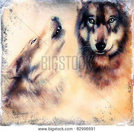 Howling Wolfs Airbrush Painting On Canvas Color Background eye contact