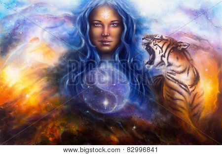 Beautiful Painting Oil On Canvas Of A Woman Guarding A Sacred Balance With A Flying Heron And A Roar