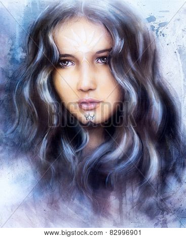 A Beautiful Airbrush Painting Of An Enchanting Woman Face  With Structure Colour Background ornament
