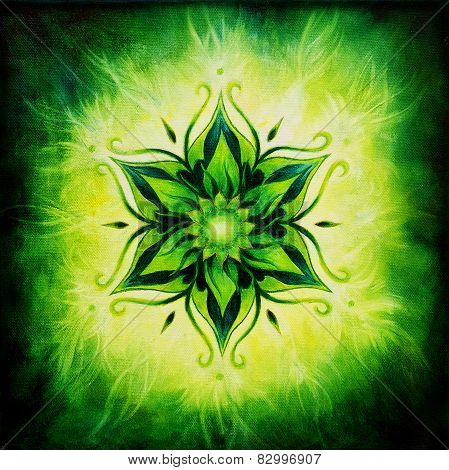 illustration Flower Mandala On A Green Background