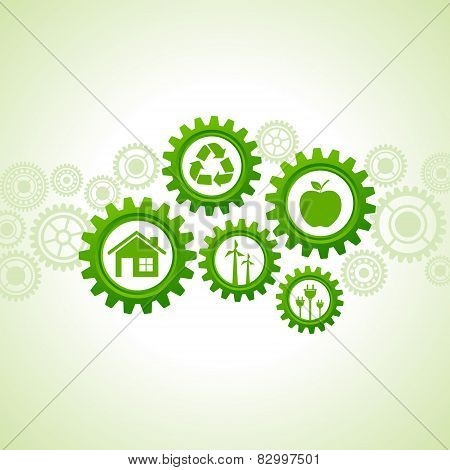 Green energy icons design concept vector