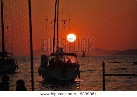 Sonnenlicht und Sonnenuntergang Kroatien
