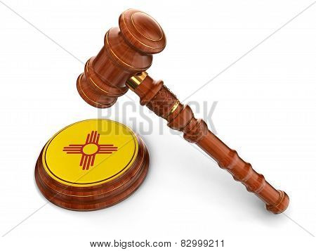 Wooden Mallet and flag Of New Mexico (clipping path included)