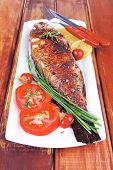 image of sunfish  - main course on wood - JPG