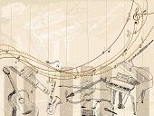 image of clarinet  - Vector Sketch musical instruments on a light background - JPG