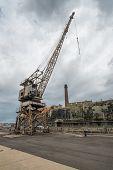 picture of cockatoos  - Rusty disused crane on Cockatoo Island docks in Sydney - JPG
